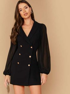 Shawl Collar Sheer Bishop Sleeve Double Breasted Blazer Dress for Sale Australia Look Fashion, Korean Fashion, Girl Fashion, Fashion Design, Classy Dress, Classy Outfits, Casual Outfits, Mode Outfits, Dress Outfits
