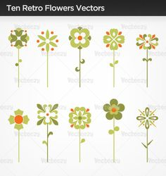Ten Retro Flowers VECTORS