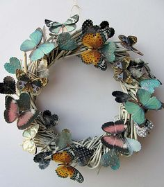 Pretty and Whimsical Butterflies and Hearts Wreath Butterfly Decorations, Butterfly Crafts, Diy And Crafts, Arts And Crafts, Paper Crafts, Heart Wreath, Summer Wreath, Beautiful Butterflies, How To Make Wreaths