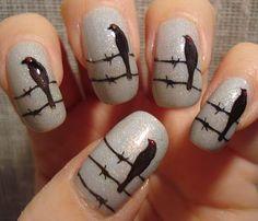 Halloween Nail Designs | Quote The Raven - Edgar Allen Poe style :)