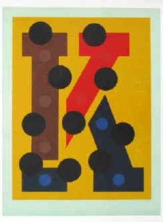 """Josua Reichert - """"Aus einer anderen Welt"""" Original Farblinolschnitt. (Buchstabe K, 1996) Linolschnitt von Josua Reichert signiert."""