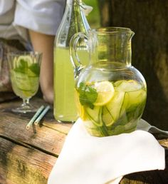 Healthy Drinks, Healthy Recipes, Lemonade Cocktail, Summer Drinks, Mojito, Pickles, Cucumber, Smoothies, Lose Weight
