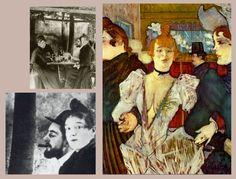 Ο Toulouse-Lautrec και η La Goulue (Louise Weber) στον κήπο του Moulin de la Galette, ca. 1887.  Δεξιά: Η La Goulue εμφανίζεται στο Moulin Rouge μαζί με δυο γυναίκες, 1892.