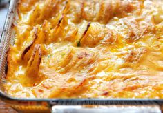 Ooey gooey cheese covers every nook and cranny of these amazing cheesy scalloped potatoes! Thick cut potato rounds smothered in cheese sauce=perfection! Thanksgiving Side Dishes, Thanksgiving Recipes, Holiday Recipes, Great Recipes, Favorite Recipes, Christmas Recipes, Potato Side Dishes, Vegetable Dishes, Vegetable Recipes