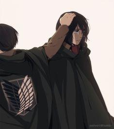 Shingeki no Kyojin (Attack on Titan) - Levi and Mikasa Armin, Eren X Mikasa, Levi X Eren, Levi Ackerman, Mikasa Anime, Attack On Titan Ships, Attack On Titan Fanart, Attack On Titan Levi, Manga Anime