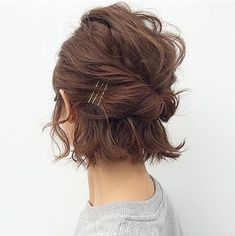 50 cute updos for short hair - hair style Short Hair Styles Easy, Curly Hair Styles, Short Curly Hair Updo, Short Bob Updo, Short Pixie, Short Hair Updos Tutorial, Short Hair Tips, Bob Hair Updo, Short Hair Cuts For Women Easy