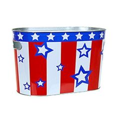 Patriotic Red White & Blue Oblong Metal Painted Ice Gift Bucket Tub Tote