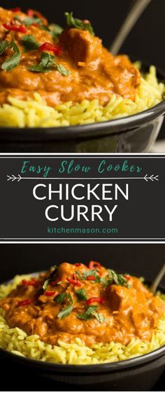 This incredibly easy slow cooker chicken curry recipe is a perfect family dinner No precooking required its ideal for time saving and makes minimal pots to wash Click thr. Crock Pot Curry, Slow Cooker Chicken Curry, Easy Chicken Curry, Recipe For Chicken Curry, Curry Crockpot, Easy Dinner Recipes, Easy Meals, Easy Recipes, Slow Cooker Huhn