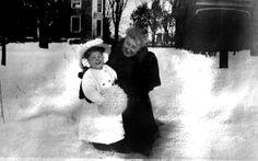 Anne McLean Buckingham and grand daughter Anne Buckingham in snow circa 1910 Watertown, CT