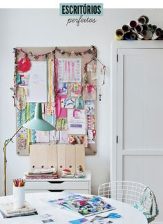 Holly Becker's craft room corner, from Decorate Workshop, Design Diy Design, Interior Design, Design Room, Interior Ideas, House Design, Creating A Vision Board, Room Corner, Workspace Inspiration, Inspiration Wall