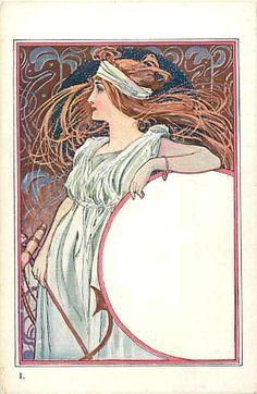 Unknown Artist Unknown Pub No 1 Art Nouveau Woman with Long Flowing Hair UDB | eBay