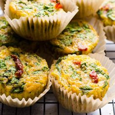 These Egg Muffins are easy, quick and are great for make ahead breakfasts. With quinoa, sun-dried tomatoes, spinach and cheese, these fluffy Breakfast Egg Muffins are hearty and healthy. Egg Recipes For Breakfast, Savory Breakfast, Make Ahead Breakfast, School Breakfast, Quinoa Breakfast, Breakfast Bake, Crescent Rolls, Healthy Family Meals, Family Recipes