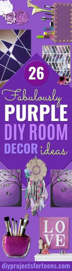 DIY Purple Room Decor - Best Bedroom Ideas and Projects in Purple - Cool Accessories, Crafts, Wall Art, Lamps, Rugs, Pillows for Adults, Teen and Girls Room http://diyprojectsforteens.com/diy-room-decor-purple