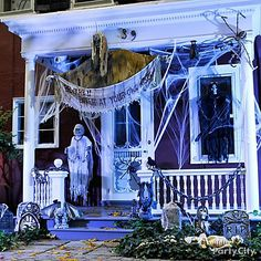 Create your spooky front door scene with Halloween decorating ideas like cobwebs, scary signs, terrifying tombstones and grim reapers! city and # halloween Spooky Halloween, Halloween Veranda, Halloween Outside, Adult Halloween Party, Outdoor Halloween, Halloween Party Decor, Holidays Halloween, Halloween Stuff, Happy Halloween