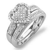Jewelry Junkie - 0.50 Carat (ctw) 10k White Gold Round Diamond Ladies Bridal Heart Shape Ring Engagement Set Matching Band 1/2 CT