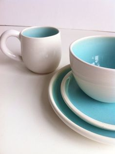 Wedding Registry for Emily And Charlie -  Wheel Thrown  Stoneware Dinnerware Set - White And Robin's Egg Blue