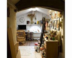 An attic studio space.