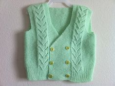 Hand Knit Baby Vest Bolero Baby Shower Green Usa by zahraknitting, $27.90