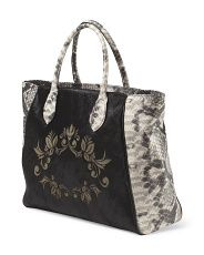 image of Made in Italy Leather Laser Cut Wing Tote $180