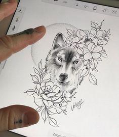 Wolf Tattoo Forearm, Small Wolf Tattoo, Wolf Tattoo Sleeve, Sleeve Tattoos, Tattoo Wolf, Husky Tattoo, Pretty Tattoos, Cute Tattoos, Leg Tattoos