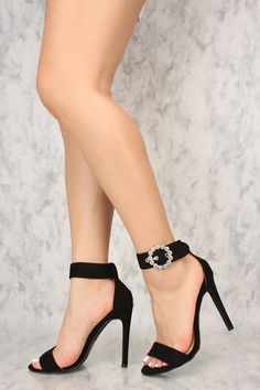 235dbfd931a Sexy Black Open Toe Ankle Strap Buckle Single Sole High Heels Sexy Heels