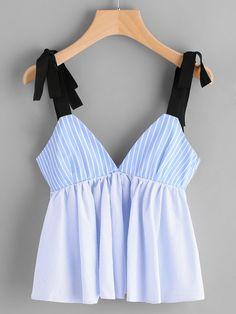 Camisola de rayas verticales con detalle de cordón | SHEIN ES