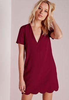 Crepe Cap Sleeve Scallop Hem Shift Dress Burgundy - Dresses - Shift Dresses - Missguided