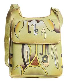 Another great find on #zulily! Yellow & Orange Abstract Hand-Painted Leather Crossbody Bag #zulilyfinds