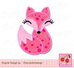Cute Fox ,Fox girl,Animal Digital Applique AN0007 -for 4x4 5x7 6x10 hoop-Machine Embroidery Applique Design by CherryStitchDesign on Etsy