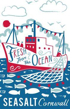 """fresh form the ocean"" nautical tea towel print for Seasalt Cornwall by Matt… Wholesale Greeting Cards, Kitchen Artwork, Underwater Art, Nautical Art, Happy Summer, Vintage Posters, Seaside, Illustrators, Screen Printing"