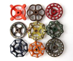 """Spigots for drawer pulls. Instant COLLECTION of GARDEN Water Faucet Knobs - Set of 9 Large knobs. Sizes range from 2"""" to 2 1/2"""" approx. These old water faucet knobs are beautifully aged and have great character."""