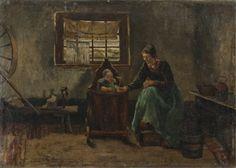 "David De La Mar, Dutch scene woman with baby.  De La Mar, David (Dutch, 1832-1898). Dutch scene with mother and child. Oil on canvas. Signed at l.l., ""David De La Mar, 1889"". 10"" x 13 3/4"".  Group - Category: Art - Continental Paintings"