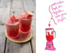 Watermelon Margaritas are super fun and colorful for summer entertaining! And I love how this recipe uses frozen watermelon chunks instead of ice cubes. You can find the recipe on my post today for Better Homes  Gardens. Whats your favorite summer drink? Cheers! By Erin Gleeson | The Forest Feast