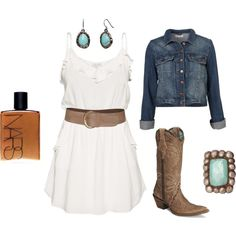 white dress + brown belt + turquoise jewelery + jean jacket + cowgirl boots = love the whole thing