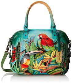 InterestPrint Tropical Forest Women Rivet Leather Shoulder Handbags Top Handle Bags with Crossbody Strap