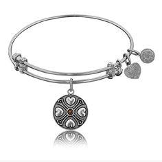 January Garnet Birthstone Charm Bangle Bracelet in White Brass