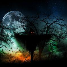 Creepy Scarecrow | Horror Creepy Moon Silhouette Scarecrow Artwork HD iPad Wallpapers ...