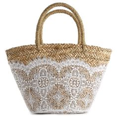 Searching for the perfect beach bag? The search is over with the Flora Bella Nimes Crochet Tote. This gorgeous straw handbag is the perfect companion for a tri… My Bags, Purses And Bags, Straw Tote, Boho Bags, Basket Bag, Towel Basket, Linens And Lace, Summer Bags, Bobbin Lace