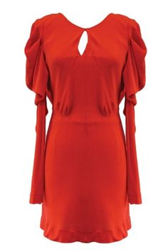 loving this Luster Lava Red Long Sleeve Dress with Cowl Back - PRE-ORDER#coop