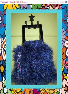 SALE Sapphire Blue Handbag Cotton & Fun Fur by ArtisticFunk, $60.00