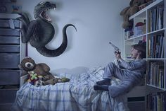 Terror by Laure Fauvel Shows Children Frightening Imaginary Monsters #art #photography trendhunter.com