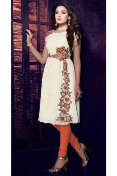 Sparkling White Georgette Readymade Kurti Diwali Sale, Kurti, Sparkle, India, Lady, Dresses, Design, Fashion, Vestidos