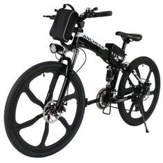 "ANCHEER Folding Electric Mountain Bike with 26"" Super Lightweight Magnesium Alloy 6 Spokes Integrated Wheel"