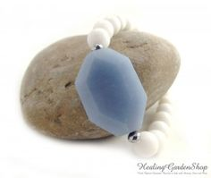 **Use promo code TRES10 for a 10% discount! :)** Faceted Angelite and White Jade *Spiritual and Angel Communication