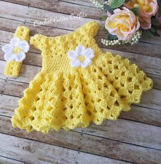 Crochet Baby Dress Pattern, Almost Free Crochet Pattern, Months Yellow Baby Dress, Baby Dress Pa Crochet Baby Dress Free Pattern, Easter Crochet Patterns, Baby Girl Dress Patterns, Baby Clothes Patterns, Baby Girl Crochet, Crochet Baby Clothes, Newborn Crochet, Crochet Baby Hats, Baby Knitting