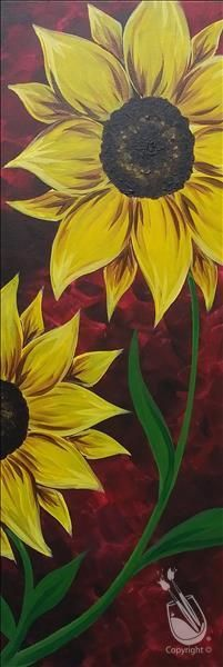 Pick a painting, invite your friends, and enjoy step-by-step instruction with our experienced and enthusiastic local artists. You'll leave with a one-of-a-kind creation and be ready to come back again. Sunflower Canvas Paintings, Cute Canvas Paintings, Canvas Painting Tutorials, Diy Canvas Art, Diy Painting, Painting & Drawing, Paintings Of Sunflowers, Sunflower Art, Paint Party