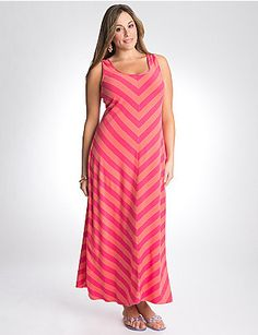 Our toe-skimming maxi dress is a perennial favorite for its easy-wearing femininity. We love this season's fun-loving chevron stripes, especially in cheerful colors that flatter and turn heads. Sexy scoop neckline and wide, tank straps let you wear it with your favorite bra, too.  lanebryant.com
