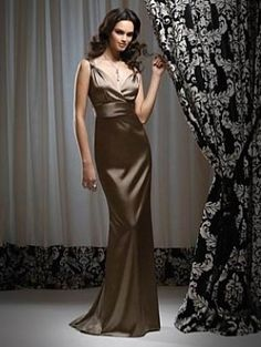 Mocha Sheath V-neck Knotted Straps Satin Evening Long Bridesmaid Dress $81.88
