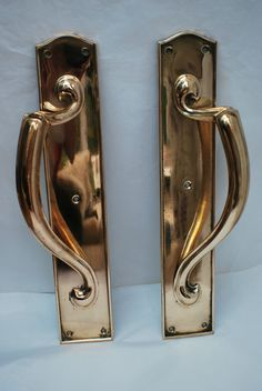 LARGE IMPRESSIVE BRASS ART DECO STYLE DOOR HANDLES / PULLS STUNNING 40 CM X  8 CM #ArtDeco