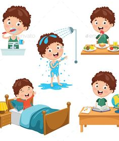 Buy Vector Illustration of Kids Daily Routine Activities by yusufdemirci on GraphicRiver. Vector Illustration Of Kids Daily Routine Activities Kids Routine Chart, Daily Routine Activities, Preschool Activities, Board For Kids, Cute Fish, Sewing Basics, Basic Sewing, Alphabet Worksheets, Kids Stickers